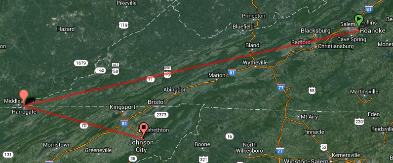 Google Map of the song's geography in SW Virginia