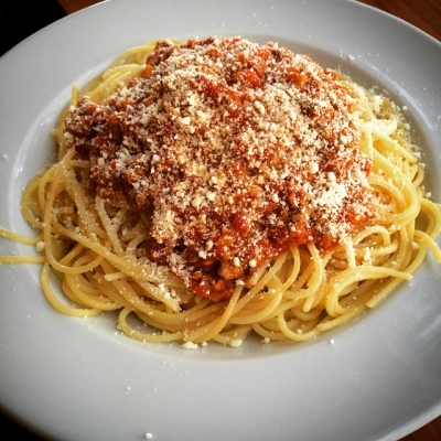 Spaghetti Bolognese. That's a proper lunch