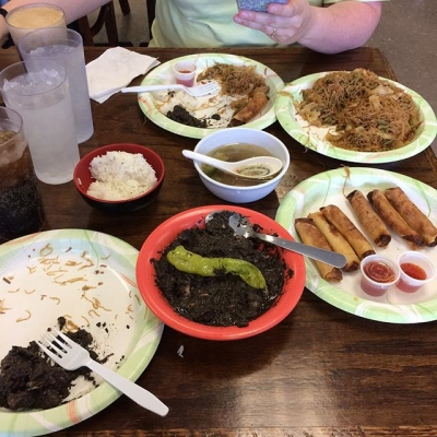 Pancit bihon, lumpia and dinuguan. Why do they always look at me funny when I order dinuguan?