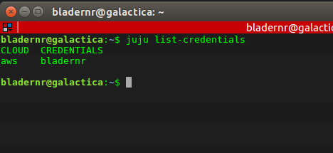 Output of the 'juju list-credentials' command