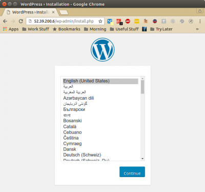 Browser showing deployed wordpress installation.
