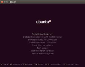 image of the Ubuntu Server installation menu