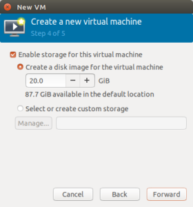 Image of the VM Config Disk Setup Screen